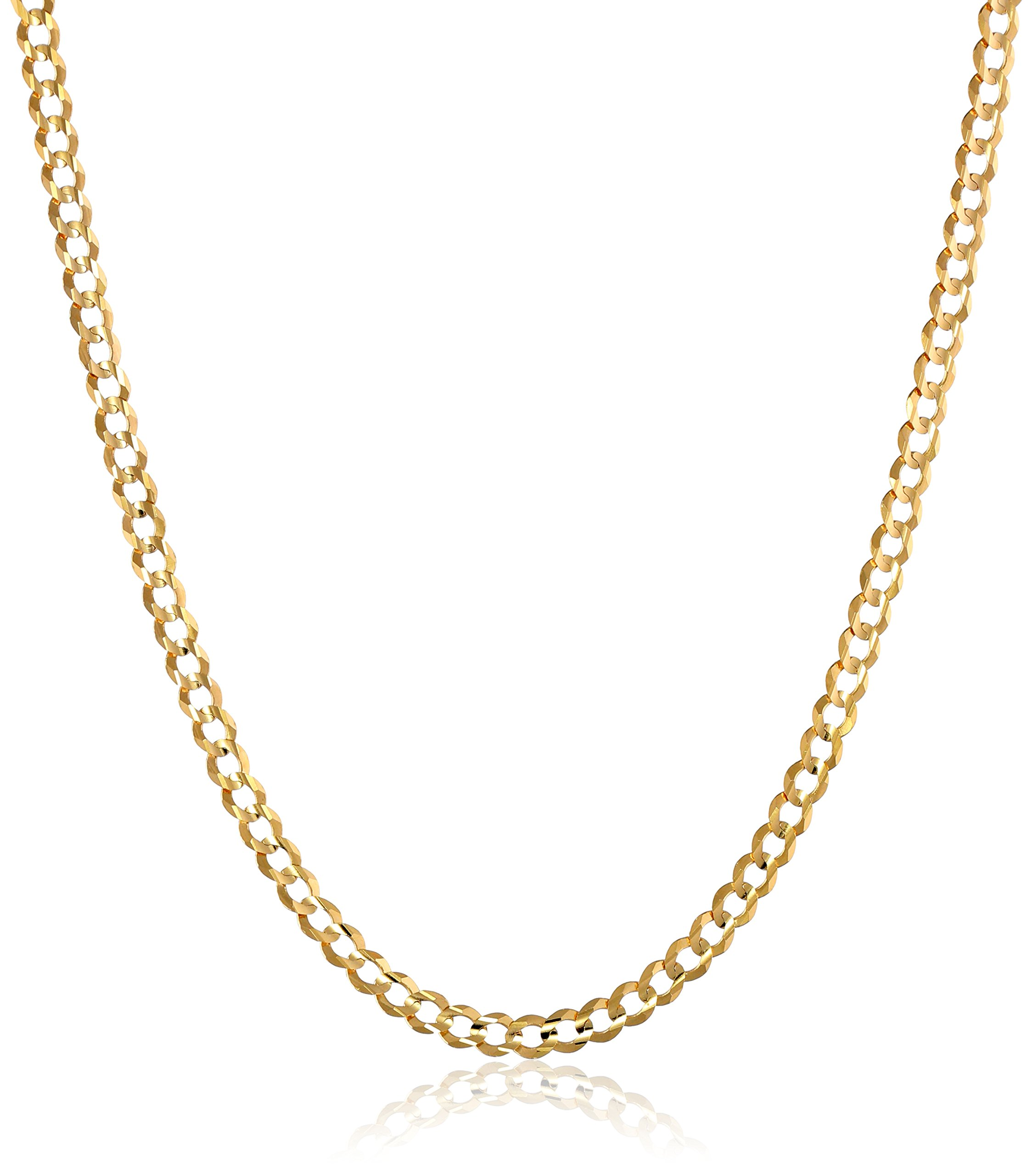 Men's 14k Yellow Gold 3.85mm Cuban Chain Necklace, 24''