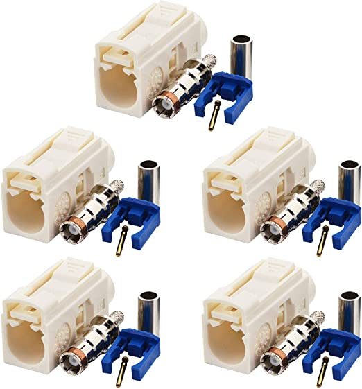 Yilianduo Fakra Crimp Plug B Klinkenbuchse Weiß Elektronik