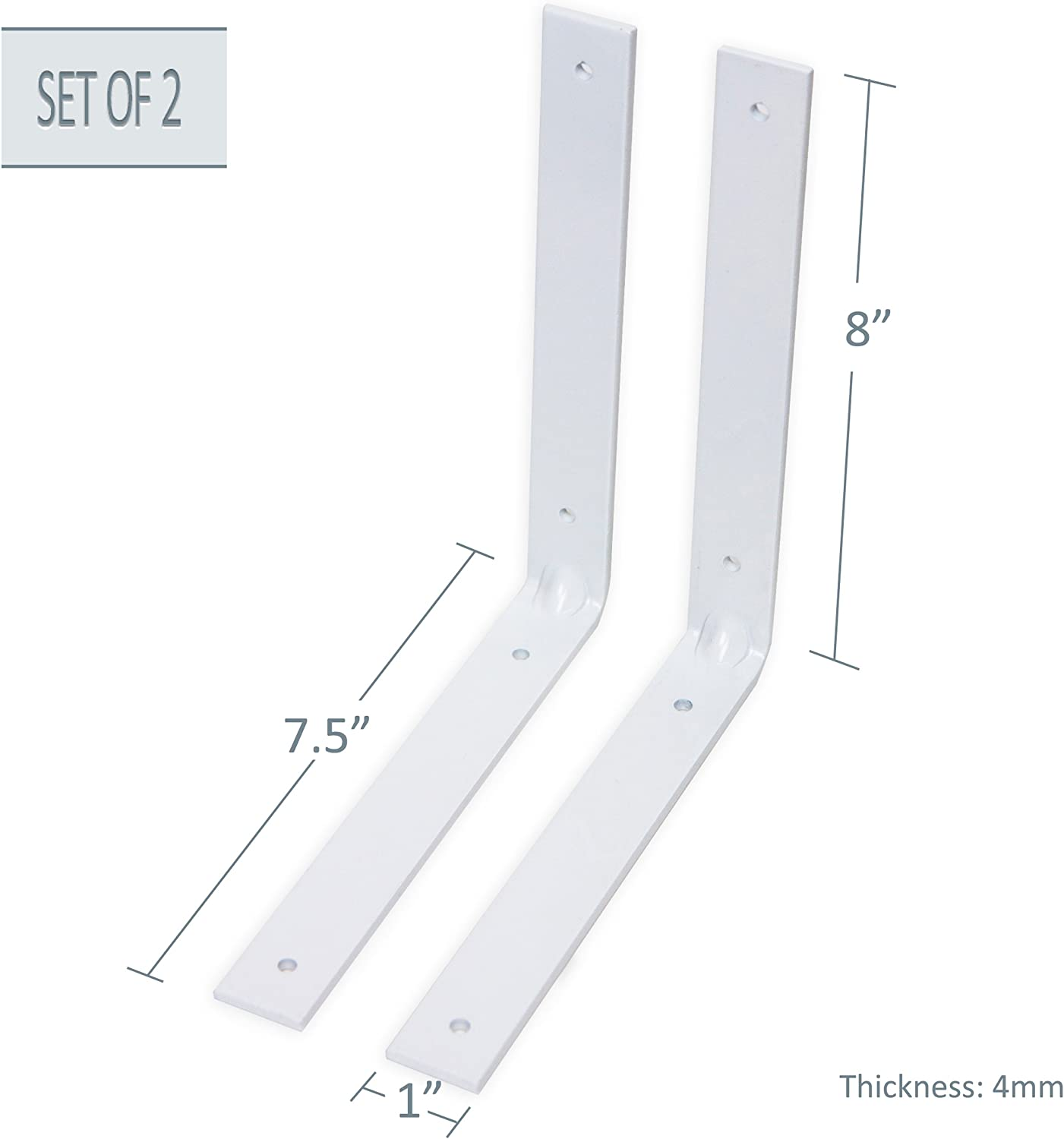 2 pieces White Super Heavy Duty 4mm Thickness L Shape Metal Bracket 7.5 x 8 A/&F Rod Decor