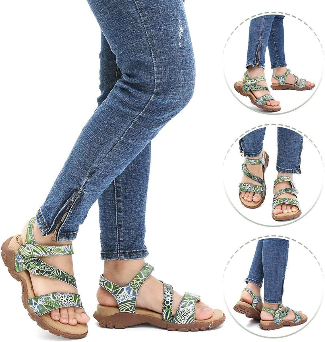 Camfosy Women Summer Flat Sandals Leather Sports Outdoor Anti Slip Walking Sandals Vintage Handmade Slip Ons