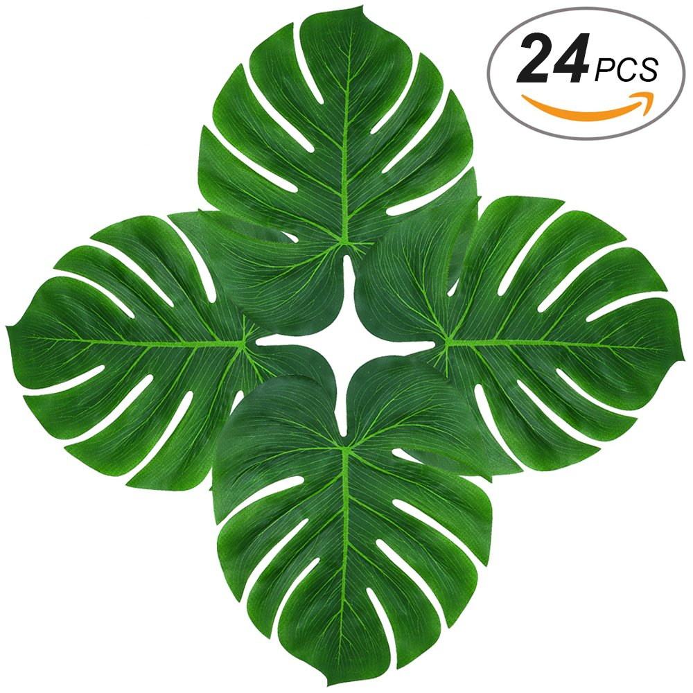 Soyee 24pcs Tropical Large Palm Leaves, DIY Waterproof Artificial Leaf Placemats and Table Runners for Hawaiian Luau Party Decoration, Jungle Party Supply