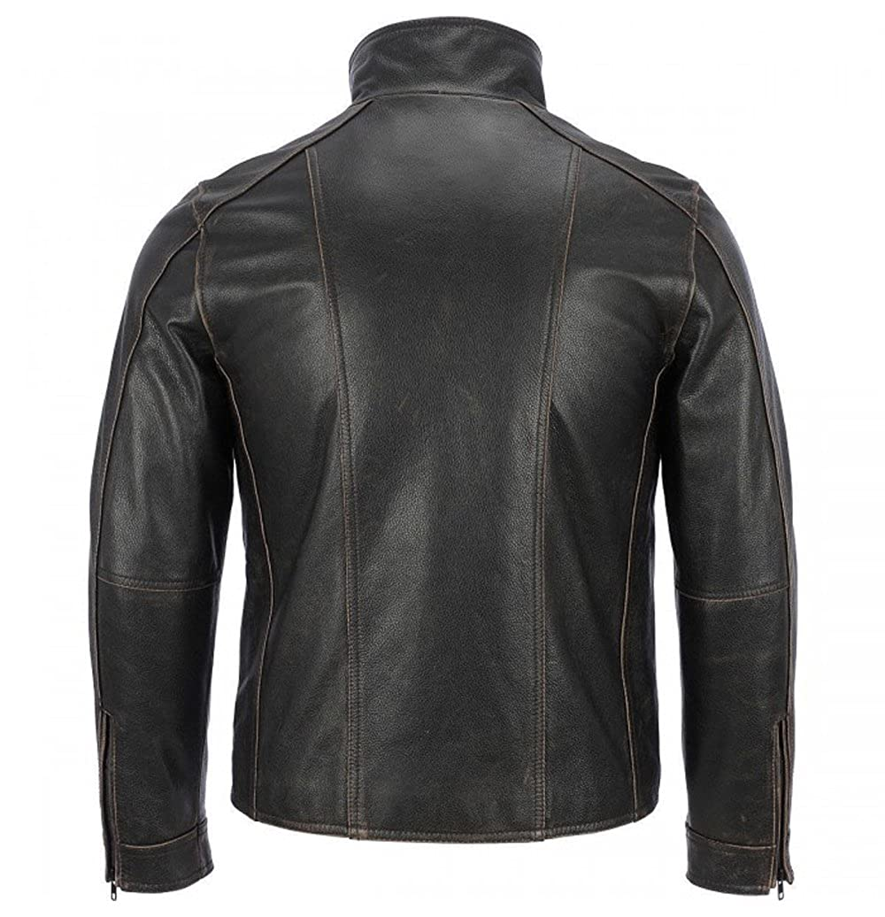 The Sparks Up Inc Rivet Faded Seam Moto GP Biker Distressed Real Leather Jacket