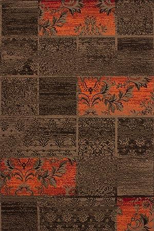 Lalee 347222001 Tapis Marron/orange/motif patchwork 120 x 170 cm ...