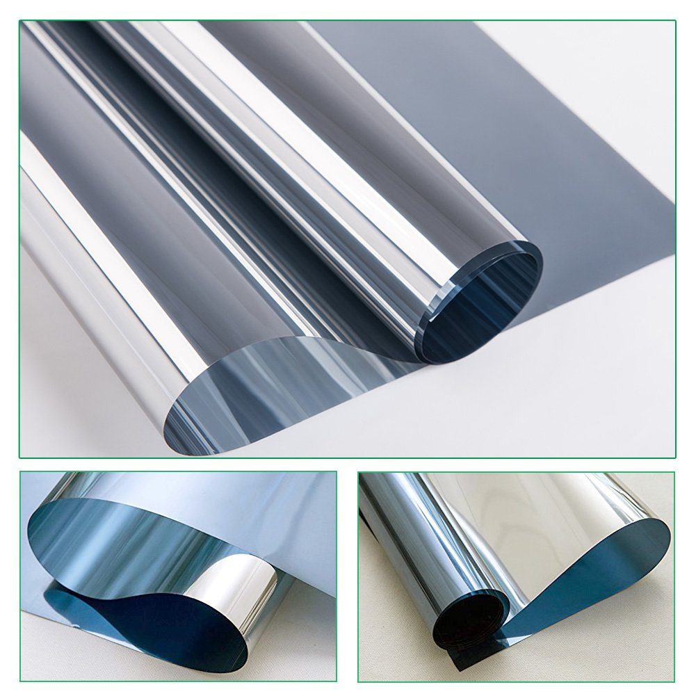 RH Art Pellicola Specchio Adesivo per Vetri Finestre Anti UV Oscurante Anticalore per Officio Casa - 60 x 200 cm