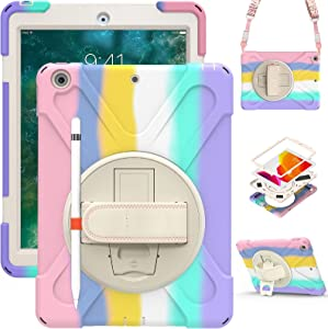 iPad 5th Generation Case for Kids 2017 | TSQ iPad Case 6th Generation 2018 Heavy Duty | Rugged Case w/ Pencil Holder Stand Hand Shoulder Strap for iPad 9.7 Inch A1893/A1954/A1822/A1823, Rainbow Pink