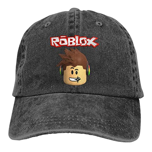 DADAJINN Roblox Character Head Video Game Graphic Adjustable Ball Cotton  Washed Denim Hats Black 1036c2587ed5