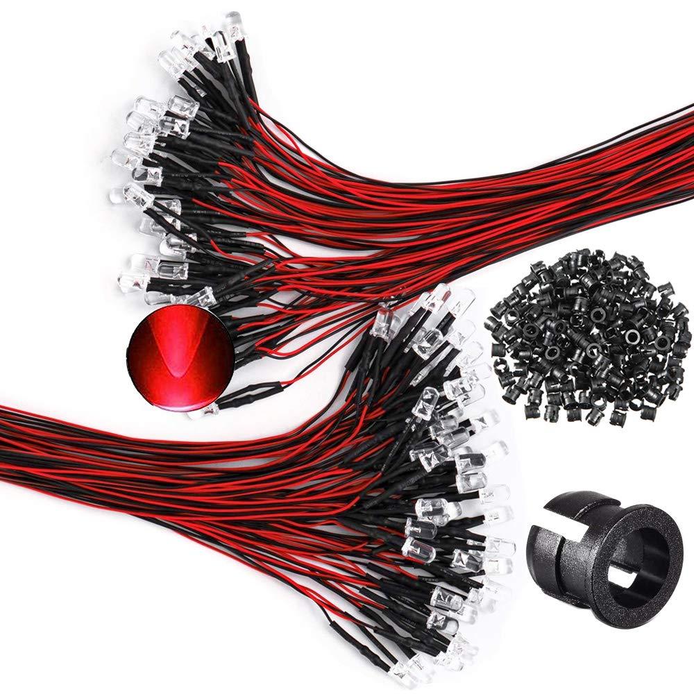GTIWUNG 100Pcs Luces LED de Diodo Rojo 12V DC Pre Wired LED Diodos Emisores de Luz Lámpara, Perlas de lámpara Transparentes + 100Pcs 5mm Plástico Soporte de LED Clip Montaje