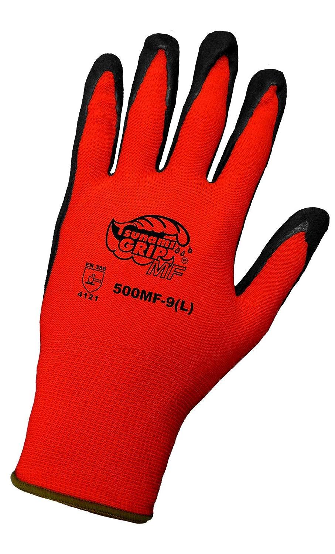 500MF-07 Case of 12 Global Glove 500MF Tsunami Grip Mach Finish Nitrile Coated Gloves Small -