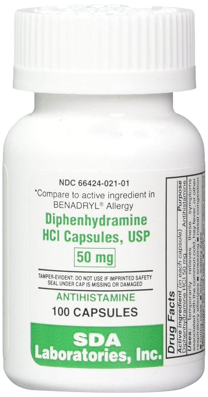 Amazon.com: Diphenhydramine HCL [Compare to Benedryl] 50 mg, 100 Capsules:  Pet Supplies