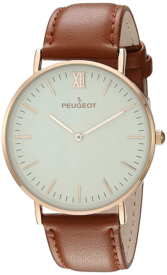 Peugeot 14K Rose Gold Plated Slim Case Roman Numeral Brown Leather Band Dress Watch 2050RG