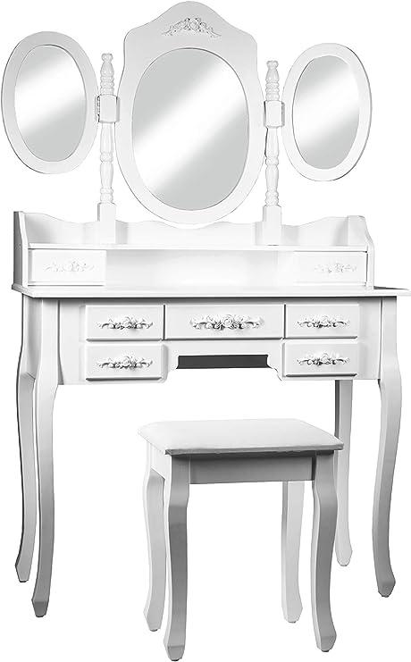 Intirilife Tocador 145x90x40 cm in Blanco Perla – Mesa de ...