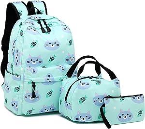 BLUBOON Backpack for School Girls Teens Bookbag Set Water Resistant Women Laptop Casual Daypack (Water blue-004)
