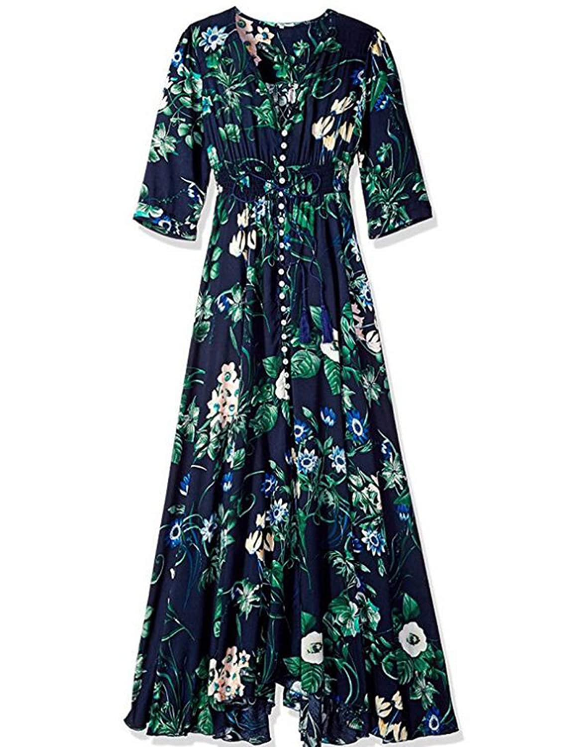 D Ladies Dresses Summer Dress Women Maxi Sundress Button Up Split Floral Print Flowy Evening Party Female Long Dresses Vestidos