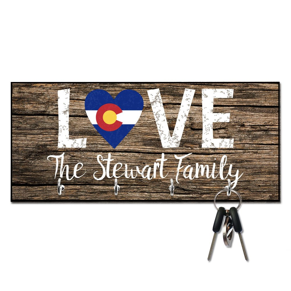 Personalized Love Colorado State Flag Key Hanger