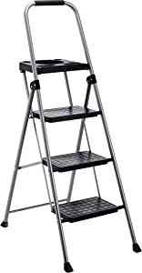 AmazonBasics Folding Step Stool - 3-Step with Tooltray, Steel, 200-Pound Capacity, Grey