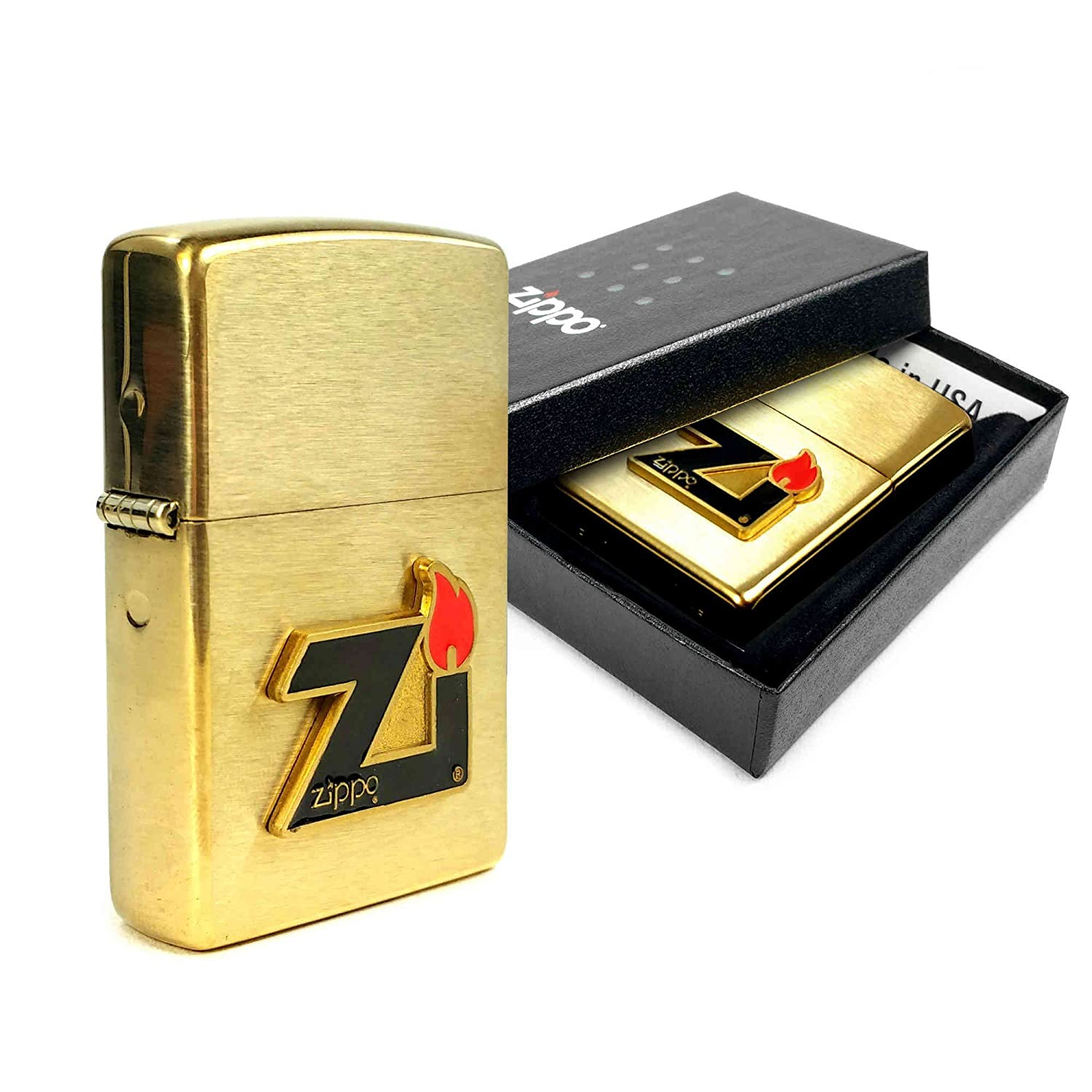 Zippo Lighter Brushed Brass Zi Flame Logo (60000832)