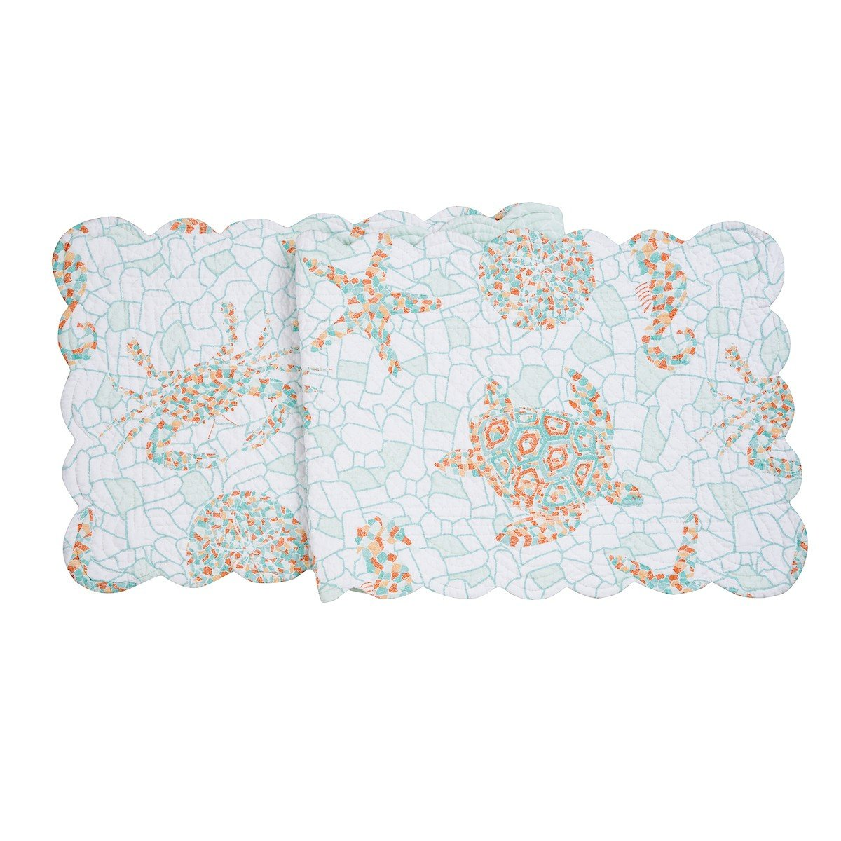 C&F Home Grand Turks Cotton Quilted Reversible Table Runner 14x51 Runner Blue