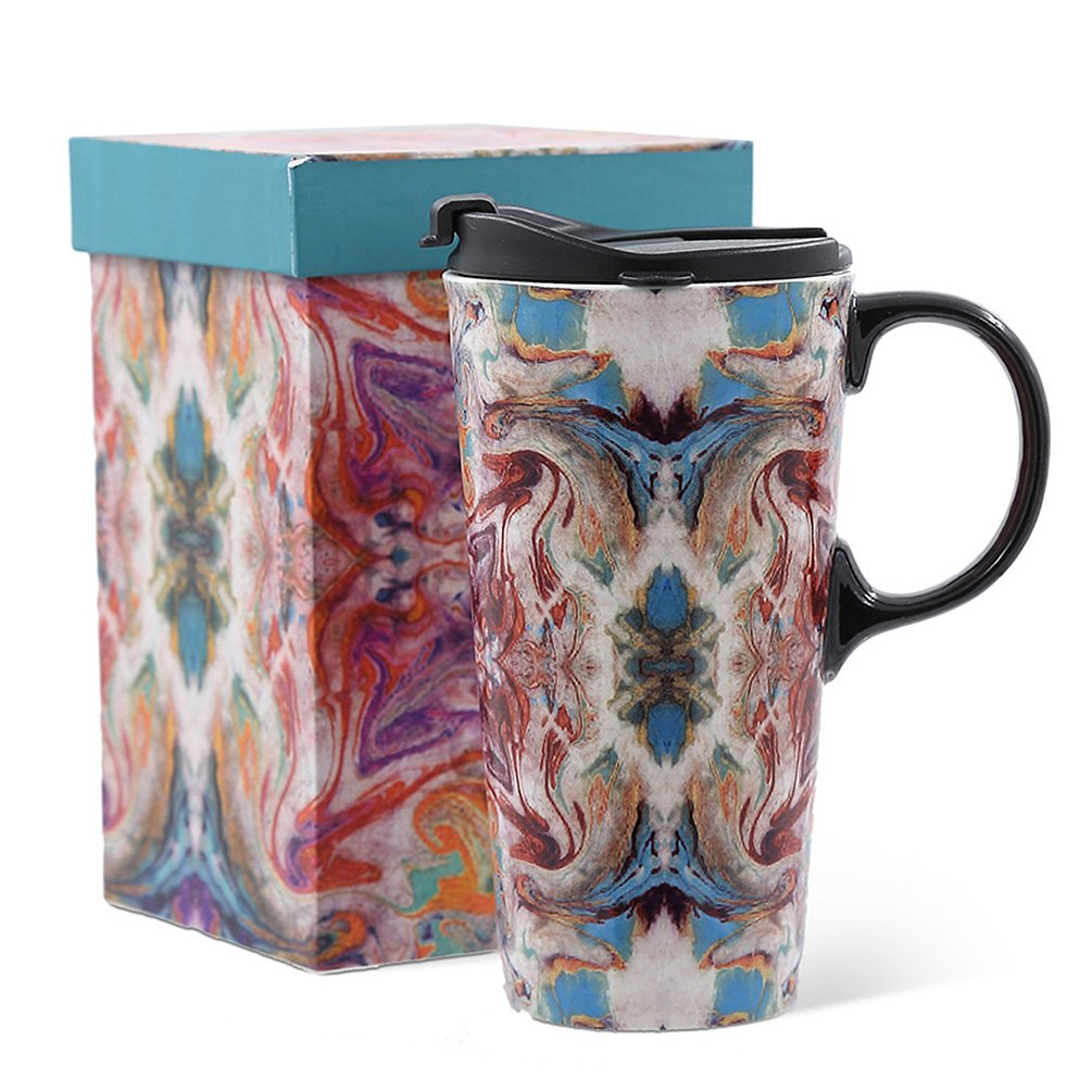 17oz Tall Ceramic Travel Mug Dishwasher Safe with Sealed Lid (Colouration)