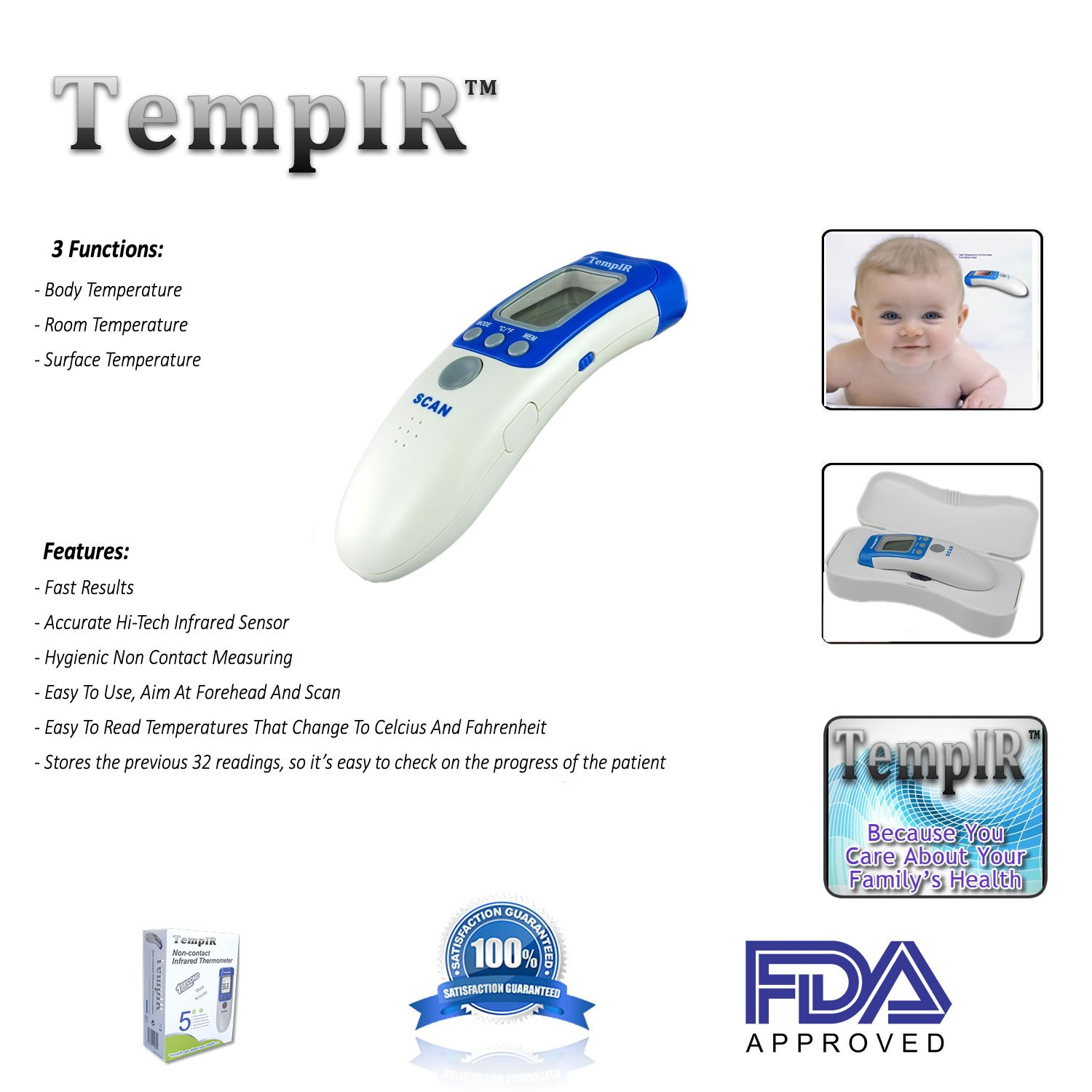Infrared for Baby Adult Child Indoor or Surface Non Contact Clinical for Forehead Fever Alarm FDA /& CE Approved TempIR Temporal Body Temperature Thermometer Memory