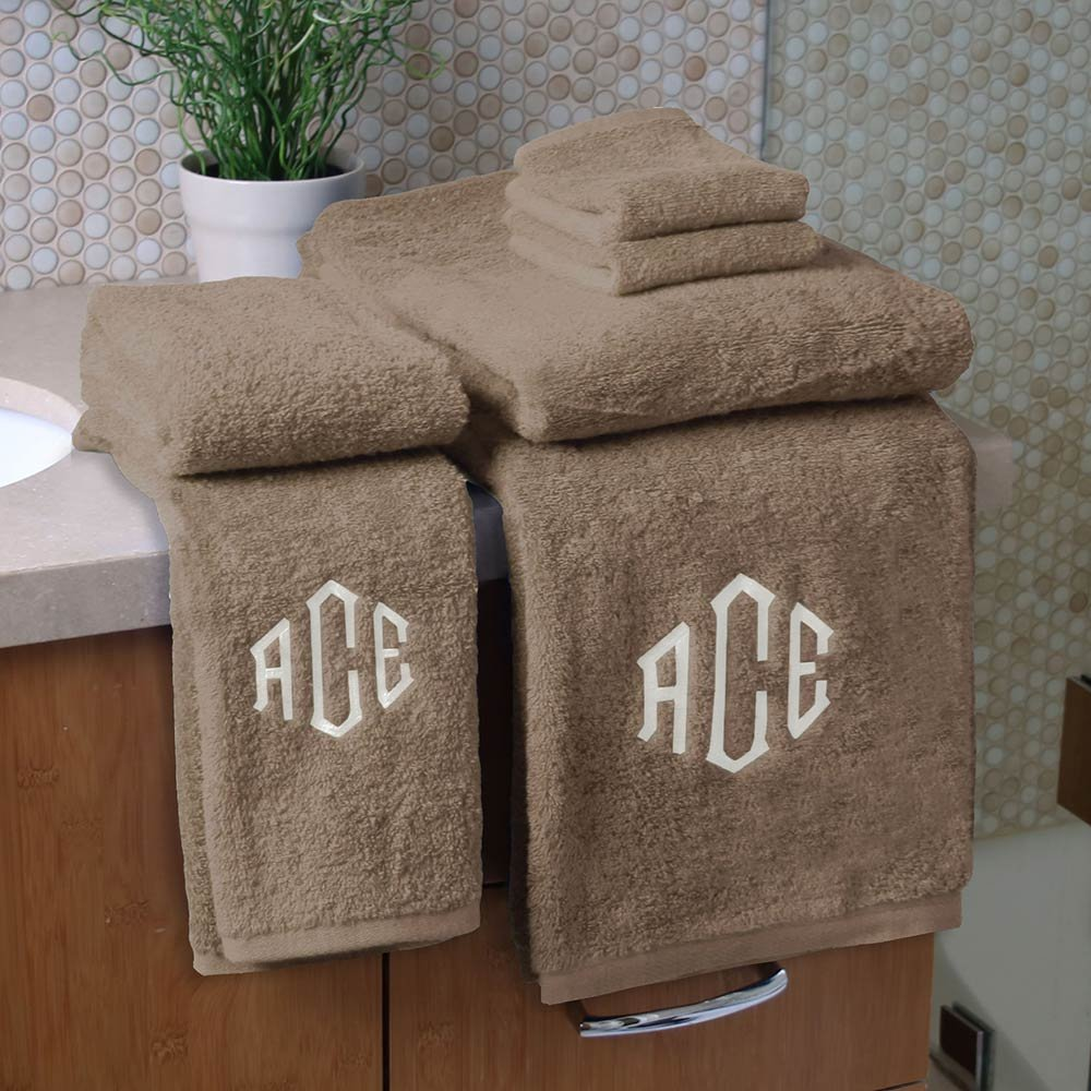 Personalized Monogrammed Decorative Bath Linens for Home, Office, and Gifts, with Decorative Frame.. Hotel Collection 100% USA Made Organic Cotton 6-Piece Set - Earth - 2-Bath, 2-Hand & 2-Wash Towels
