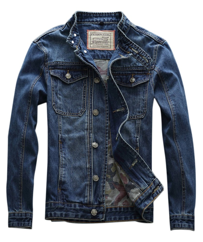 Idopy Men`s Motorcycle Slim Fit Distressed Biker Jean Denim Jacket US M(Tag XL) 671 by Idopy