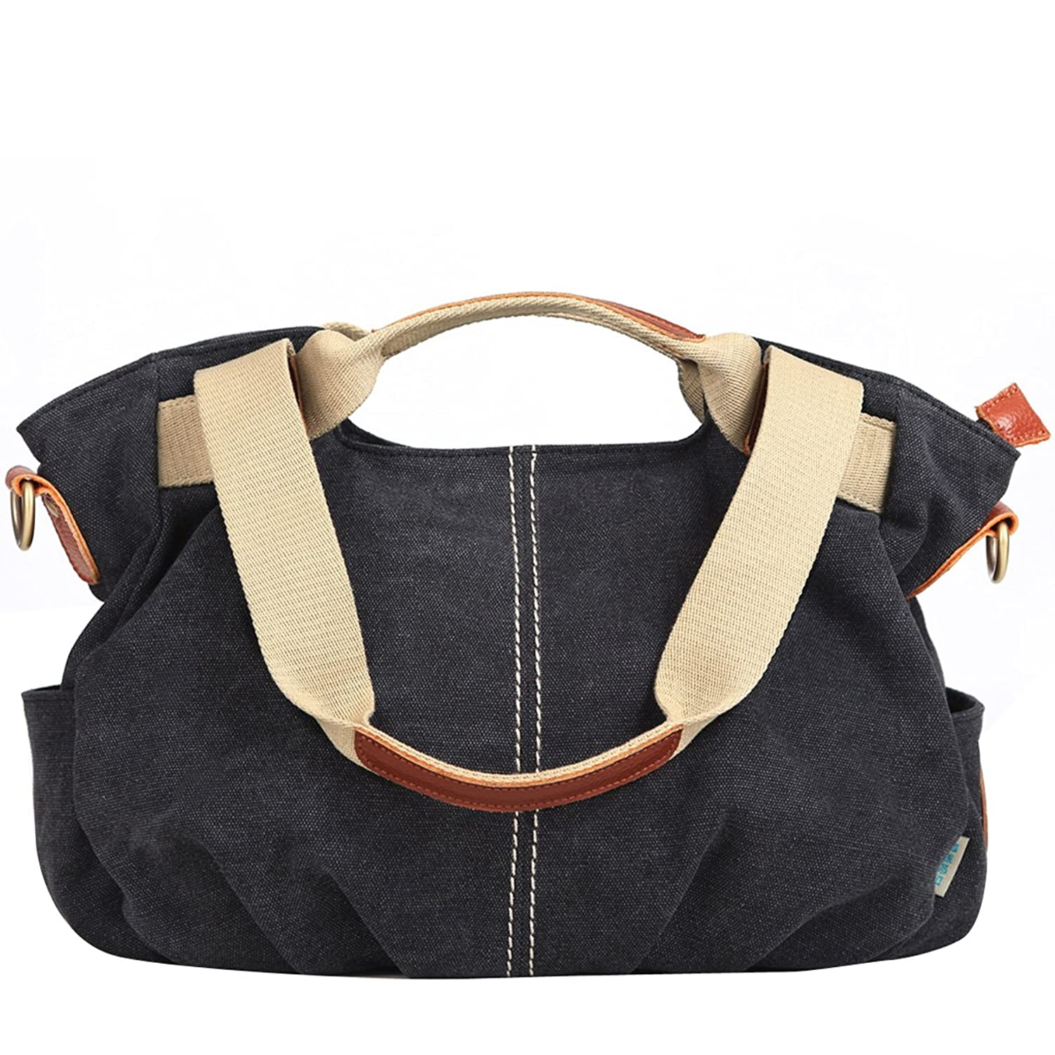 Eshow Women's Casual Canvas Hobo Shoulder Bag, Black: Handbags ...