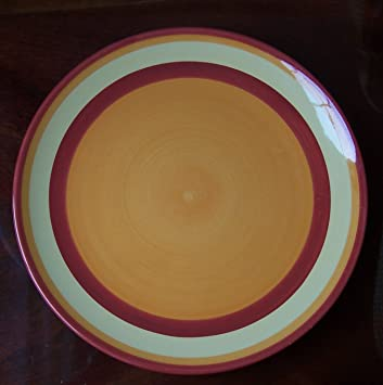 Amazing Southern Living At Home Gail Pittman Hand Painted Banded Dinner Plate Siena