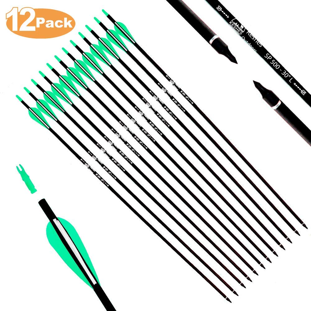 KESHES Archery Carbon Hunting Arrows for Compound & Recurve Bows - 30 inch Youth Kids and Adult Target Practice Bow Arrow - Removable Nock & Tips Points (12 Pack) by KESHES
