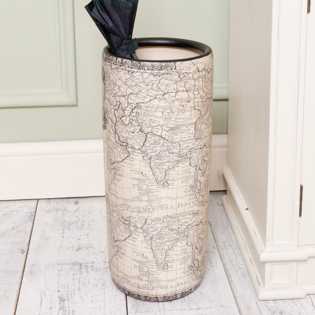 Dibor Antique Style Ceramic Map Printed Vintage Umbrella Vase - Large umbrella store for hallway - Heavy decorative accessory for the home - great housewarming gift! - H46 X W20cm