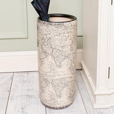 Dibor Antique Style Ceramic Map Printed Vintage Umbrella Vase