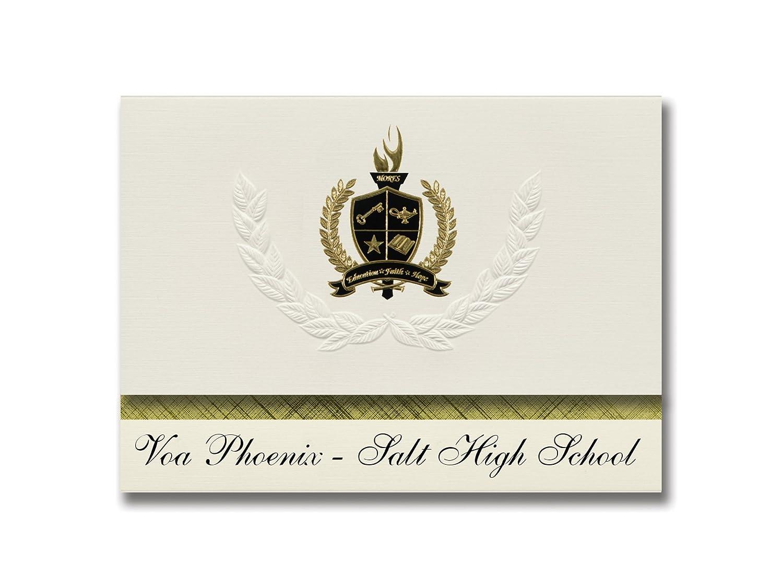 Voa Phoenix – Salt High School (Minneapolis, MN) Abschlussankündigungen, Präsidentialitätsgrundpaket 25 mit Goldfarbenen und schwarzen metallischen Folienversiegelungen