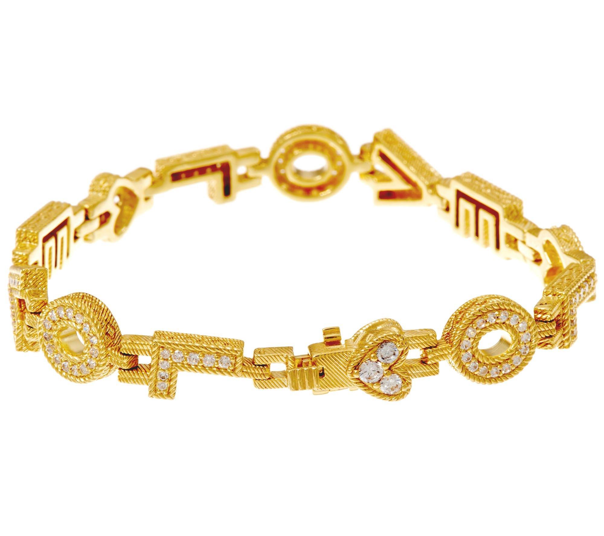Silvernshine Jewels 1.70 Carat D/VVS1 Diamond Love Design Link Bracelet In 14K Yellow Gold Plated