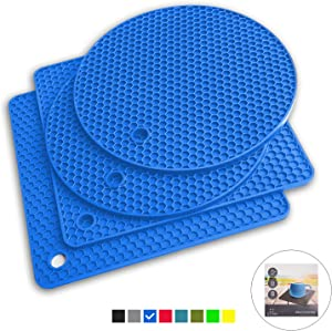 Q's INN Blue Silicone Trivet Mats | Hot Pot Holders | Drying Mat. Our potholders Kitchen Tool is Heat Resistant to 440°F, Non-slip,durable, flexible easy to wash and dry and Contains 4 pcs.