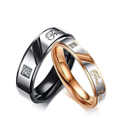 "KNSAM - Anillos de boda de acero inoxidable para pareja, con anillos grabados """