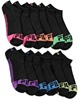 Fila Womens Shock Dry Athletic Low Cut Socks 6 Pr Size 9-11