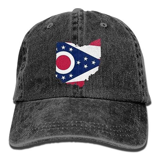 Ohio State Map Flag Denim Dad Cap Baseball Hat Adjustable