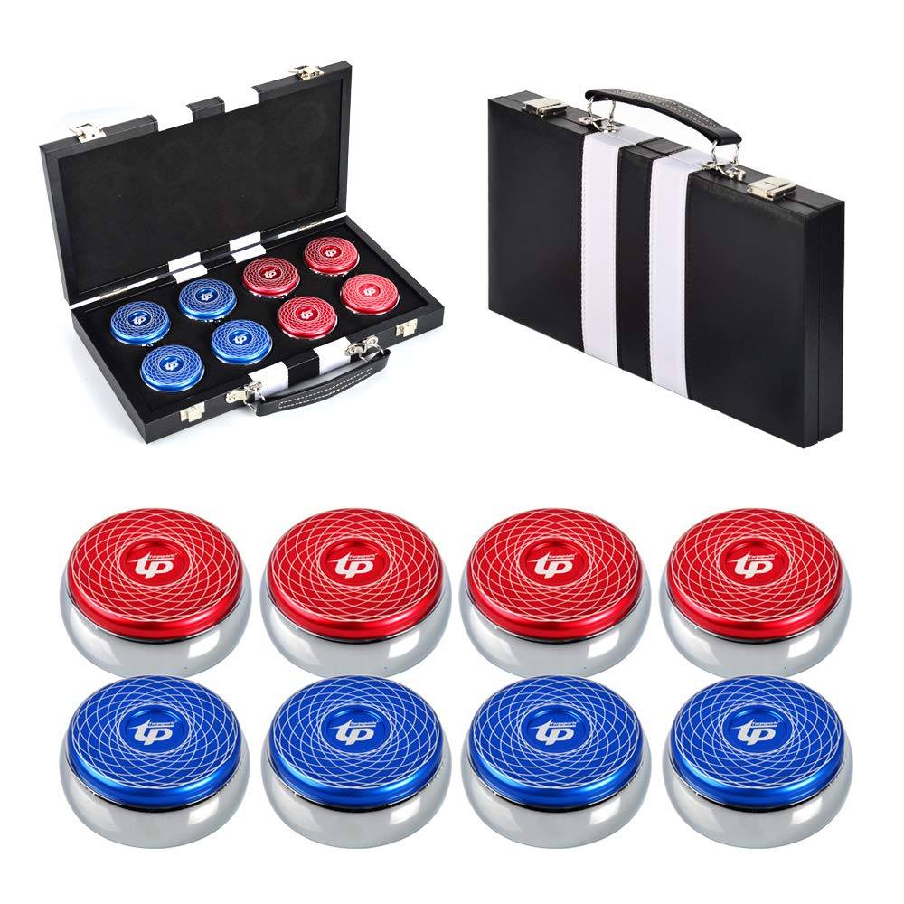 TORPSPORTS Set of 8 Aluminum Caps Shuffleboard Weights 2-1/8'' Size with Case- Red/Blue by TORPSPORTS