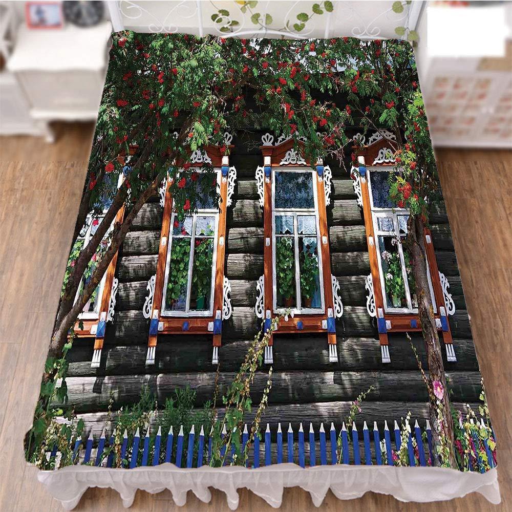 iPrint Bedding Duvet Cover Set 3D Print,Shutter at Windows Fence Flower Trees Blooms Dream,Best Modern Style Bed Skirt for Men and Women by 59''x78.7''