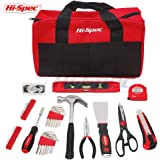 Hi-Spec 86 Piece Home Maintenance & Repairs Tool & Bag Set with Claw Hammer, Pliers, Scissors, Utility Knife, Putty Knife, Most Popular SAE Screw Bit & Hex Key Sizes, 40pc Picture Hanging Kit & Tools