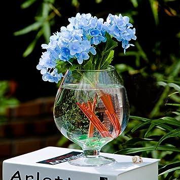 Amazon Wine Glass Shaped Transparent Bottle Vase For Plant