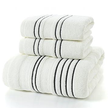 Juego de toallas, 2 toallas y 1 toallas de baño, colores resistentes apto para uso diario (2 toallas de mano 1 toalla de baño, Blanco): Amazon.es: Hogar