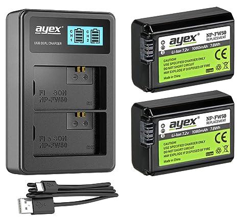 Pack de 2 baterías ayex NP-FW50 + Cargador USB Dual para ...