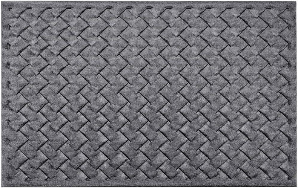 Mibao Entrance Door Mat Front Outdoor Rug Heavy Duty Non Slip Welcome Doormat For Entry Winter 24 X 36 Inch Grey Garden Outdoor