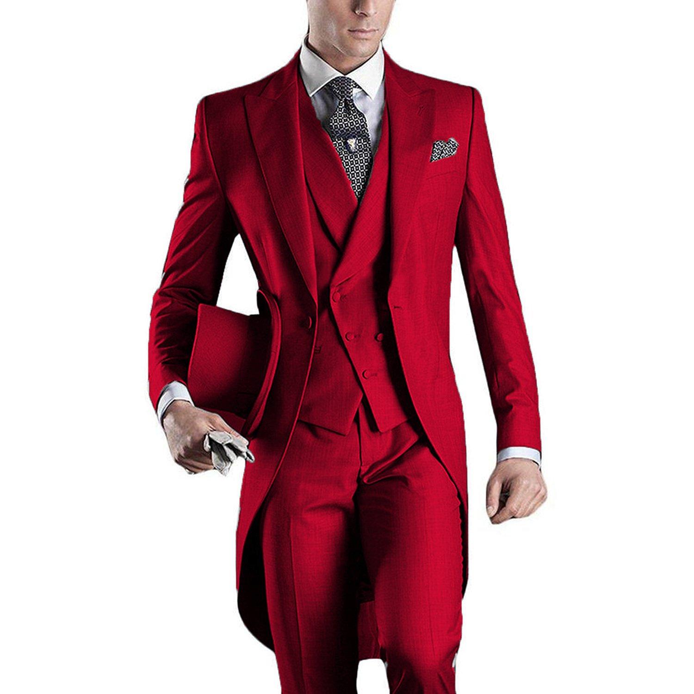 Lilis® Premium Mens Tail Tuxedo 3pc Tailcoat suit in Gray Black Suit LL17080805