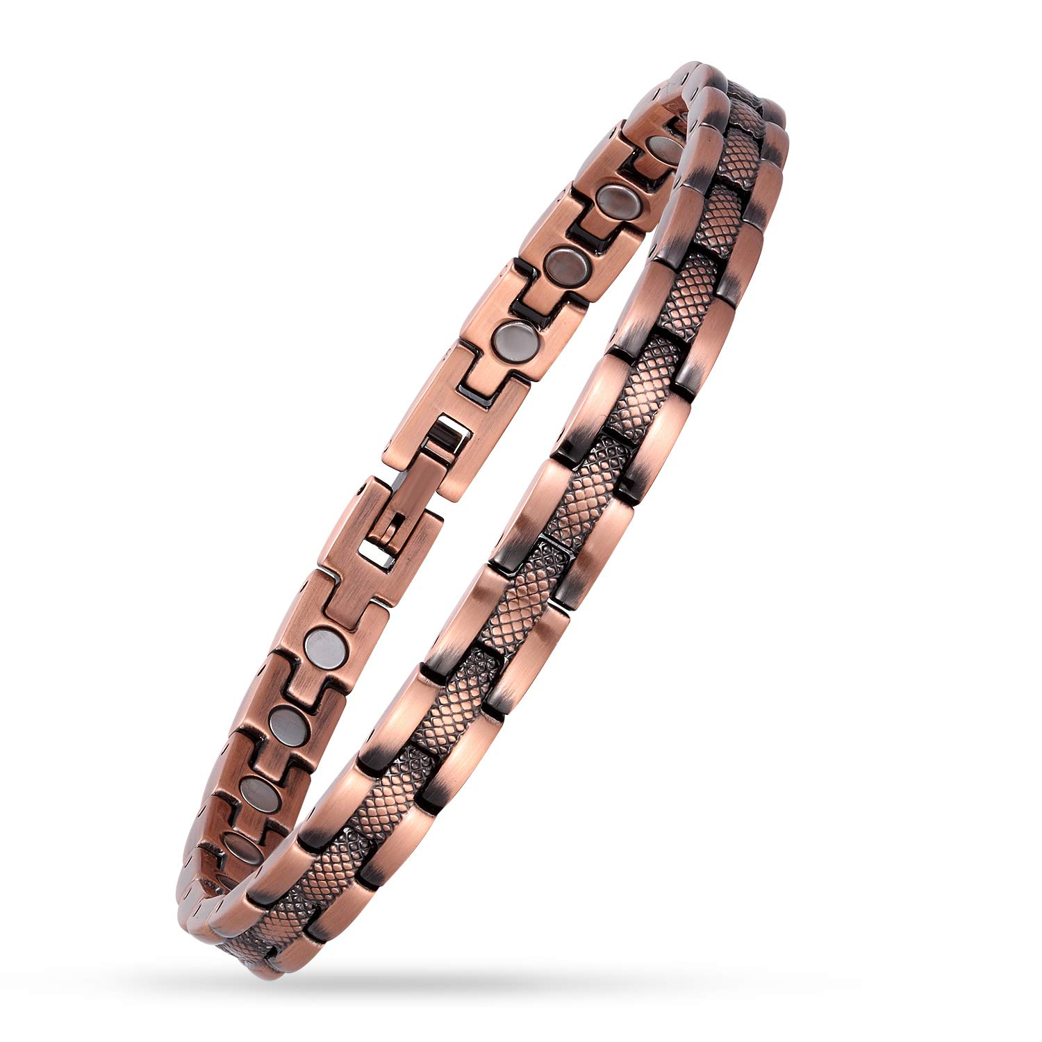USWEL Copper Bracelet for Women Magnetic Therapy Pain Relieving Bracelet for Arthritis and Carpal Tunnel Adjustable (6.5''-8.5'')