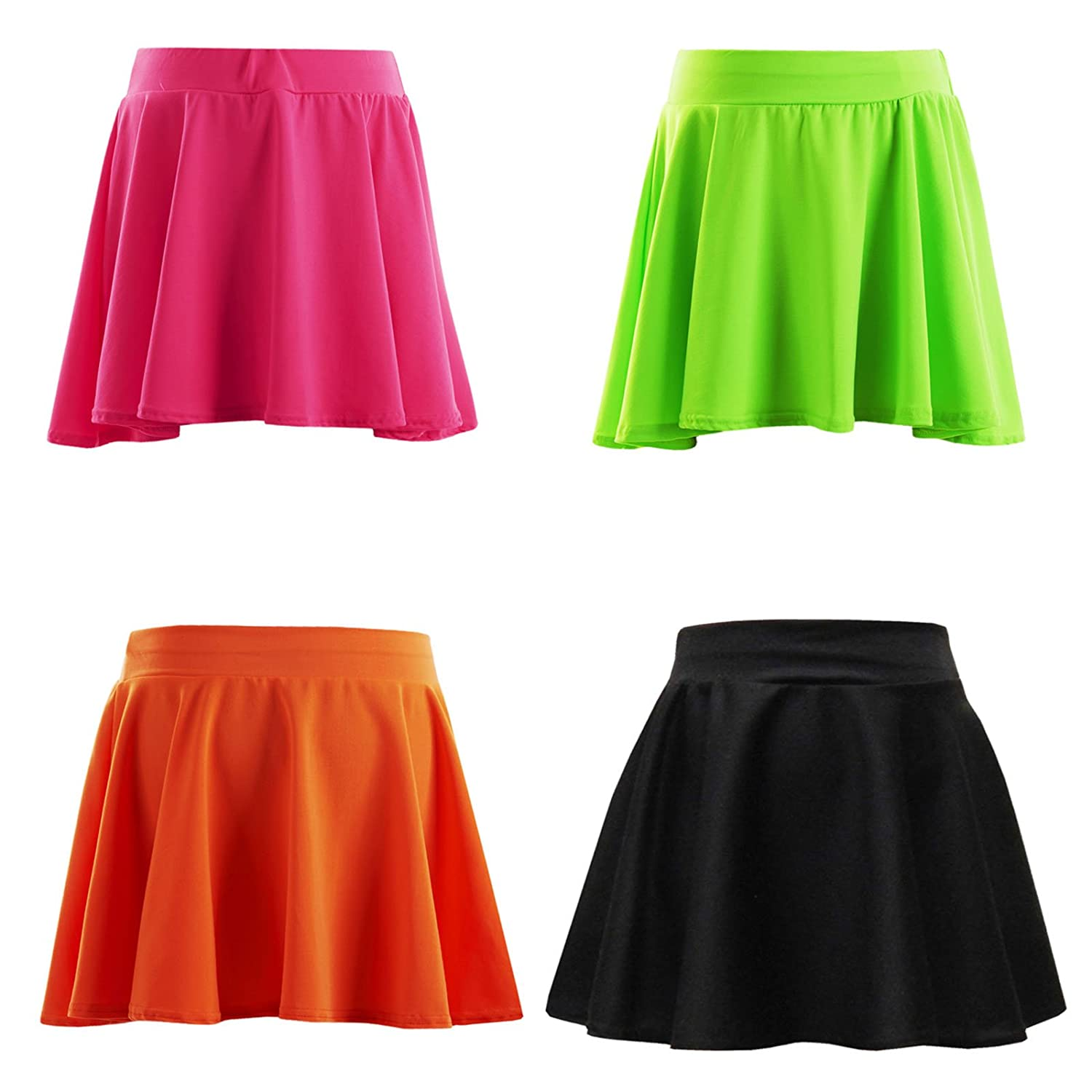 Minx New Plain Girls Skater Skirt Neon Color Kids Skater Skirt 7-13 Years