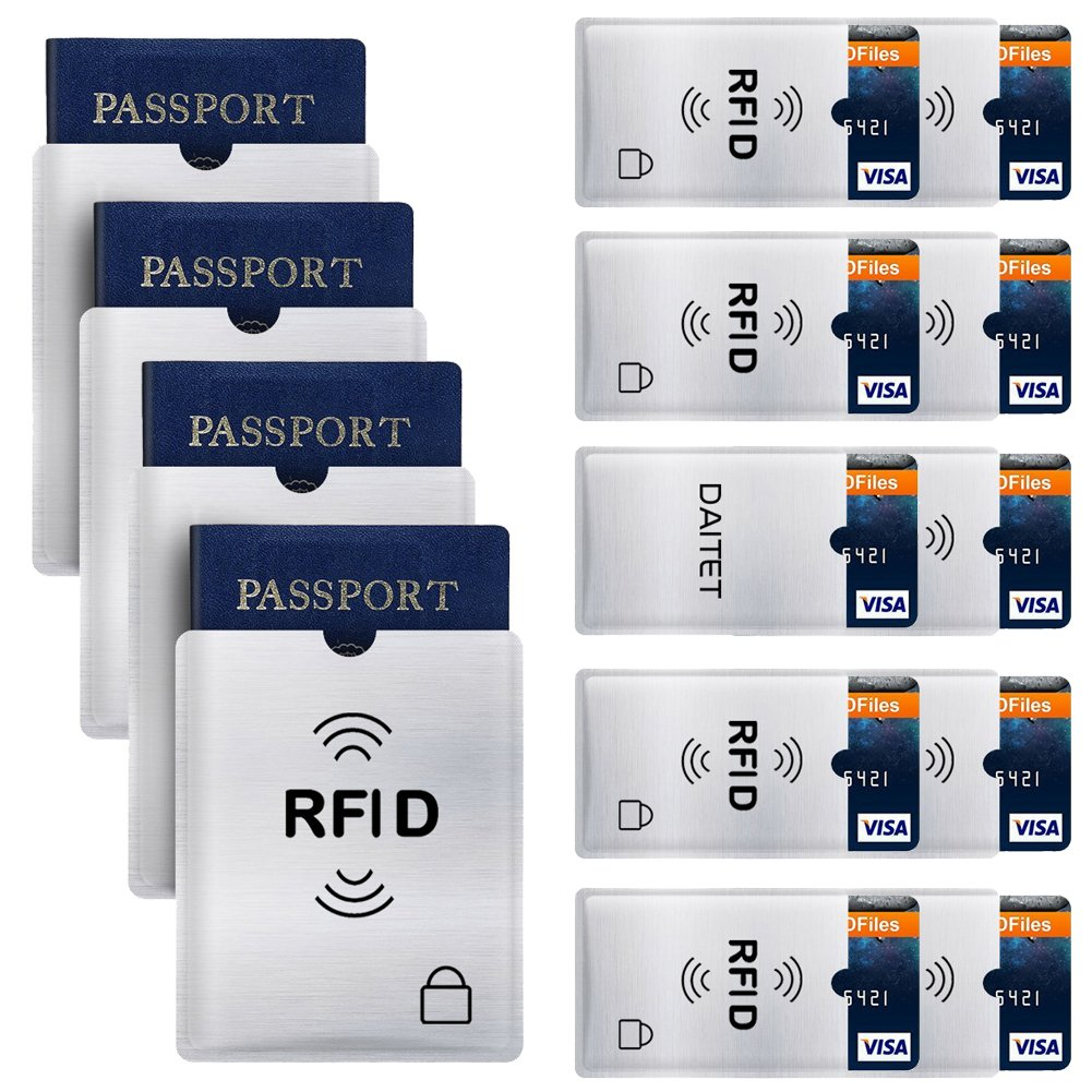 RFID Blocking Sleeves Set of 10 Credit Card Holders /& 4 Passport Protectors for Men /& Women and Wallet Trifold Leather Bifold Wallet