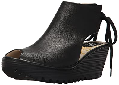 181885a3b68  Fly London Yuzu800fly Black Womens Leather Wedge Sandals Shoes