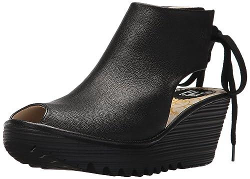 1ed676baf0c8 Fly London Yuzu800fly Black Womens Leather Wedge Sandals Shoes ...