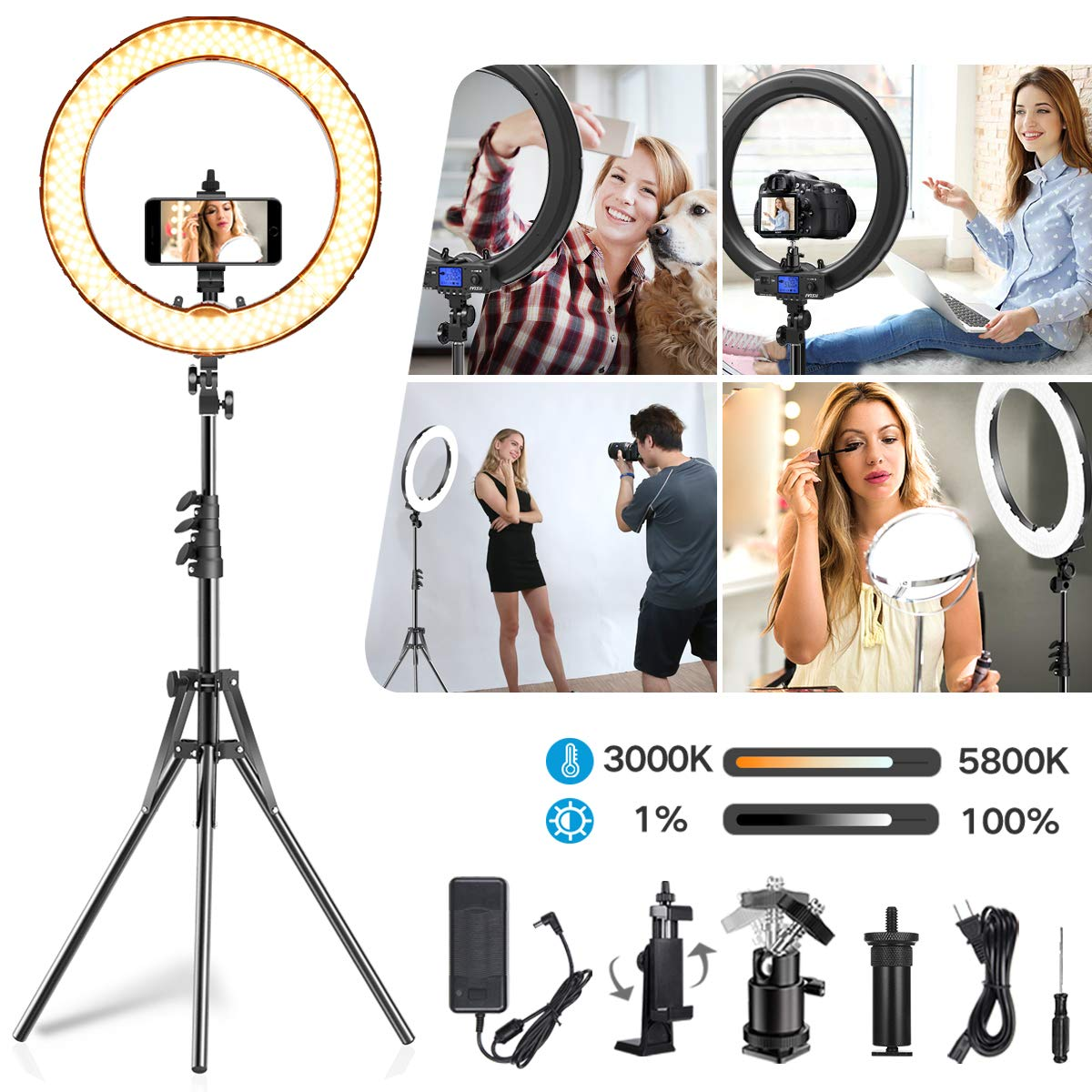 IVISII Ring Light,Upgraded Version 18.5 inch Circle Light with LCD Display Adjustable Color Temperature 3000K-5800K, YouTube Makeup, for Video Shooting, Portrait, Vlog, Selfie (No Carrying Bag) by IVISII